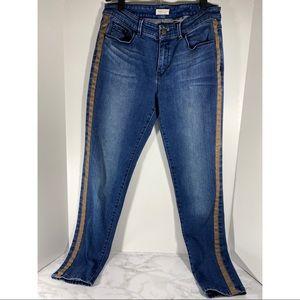 Coldwater Creek Skinny Jeans w/Faux Leather Trim